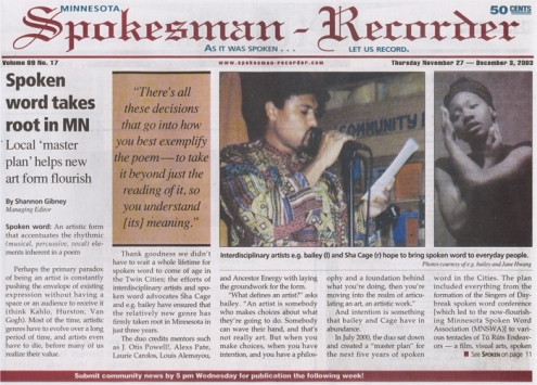 spokesman recorder article - eg + sha - cover 1 (700pxl)